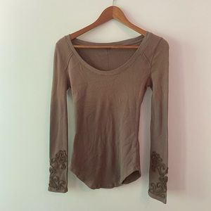 Free People | Mauve Long-Sleeve Thermal Henley